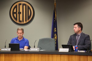 Bend City Councilor Nathan Boddie did not show up for the Oct. 3 council meeting. Protesters rallied outside the meeting calling for the council to take action after Boddie was accused of unwanted touching.