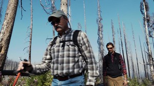 Ecologists Paul Hessburg (left) and Bill Gaines search for woodpeckers on Freezout Ridge on the side of Tiffany Mountain.