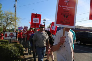 Supporters of a union at the Gladstone, Oregon, Burgerville location held a march in Portland on Thursday. Employees at the restaurant will vote on a union May 12.