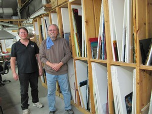 Don Bietschek and Scott Curn, partners in Aquila Art Glass, and instructors at Aquila Glass School. Nearly all raw materials in their shop come from Bullseye.
