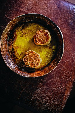 """Whole Roasted Garlic (also used in the Baba Ganoush recipe) from """"CinCin: Wood-Fired Cucina"""" by Andrew Richardson (Vancouver, B.C.)"""