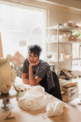 """Ceramicist Maya Vivas was the first portrait in Celeste Noche's series, """"Portland in Color"""". """"A magazine commissioned me to photograph creative women or femmes,"""" Noche said. """"They cut Maya out of it and didn't tell me or them."""" But when Noche later concived the series, she knew Vivas would be perfect."""