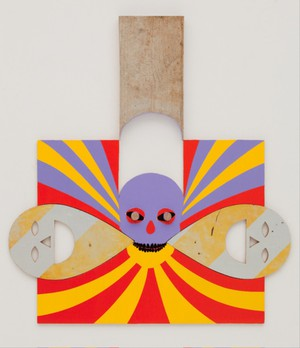 Michael Lazarus, Tethered (2011).Acrylic paint, found objects, wood31.5 x 29.75 in