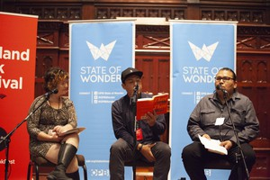 Tommy Orange (center) based his debut novel in his hometown, Oakland, California. He joined us at Portland Book Festival, along with Portland poet Trevino Brings Plenty (right).