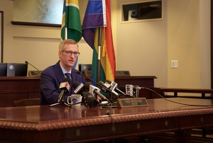 Portland Mayor Ted Wheeler speaks at a monthly press conference Oct. 12, 2018.
