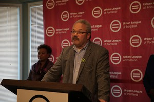 Oregon State Sen. Lew Frederick speaks at the Urban League of Portland on March 11, 2019.