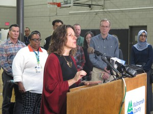 Multnomah County Chair Deborah Kafoury speaks at Imago Dei Church on Nov. 13, 2019, about winter weather preparations for houseless services.