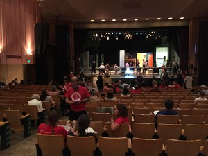 "Parents and educators, some of them wearing ""red for ed,"" attended a hearing of the Joint Committee on Student Success, Sept. 27 2018 at Portland's Madison High School."