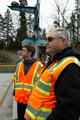 Mike Bezner (left) and Randy Harmon ride the Canby Ferry.