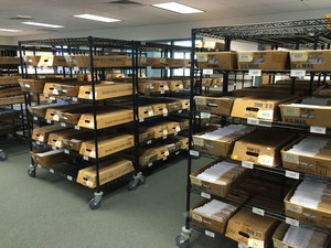 Trays of returned ballots at the Marion County Elections office in Salem.