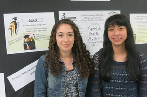 Riverside High Schools' co-valedictorians Stephanie Madrigal (left) and Yvette Barrera graduated with Associate's Degrees, through Eastern Promise.