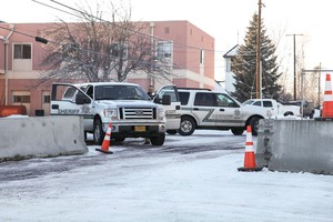The Harney County Sheriff's Office placed concrete barriers outside the county courthouse in anticipation of a possible protest.
