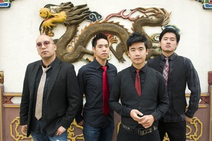 """The Slants (left to right: Joe X Jiang, Ken Shima, Tyler Chen, Simon """"Young"""" Tam, Joe X Jiang). The band has toured and released several albums as the trademark dispute has unfolded."""