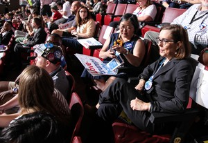 Oregon Gov. Kate Brown with the state delegation at the Democratic National Convention on Monday, July 25, 2016.