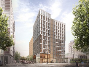 Lever Architecture has cleared design review to build an 11-story, mixed-use tower in the Pearl using cross-laminated timber in place of steel and concrete—the tallest in the nation.