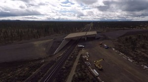 An aerial view of the Wickiup Junction railroad overpass project in La Pine, Oregon.