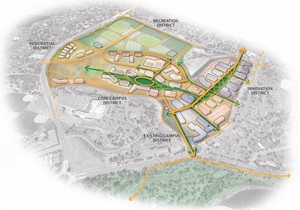The proposed campus expansion would be divided into four districts within Bend.