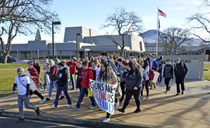 Medford students walked out of class Friday, March 3, 2018, to protest violence in schools.