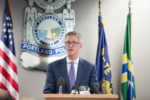 Portland Mayor Ted Wheeler speaks at the introduction of his pick to become Portland's next police chief, Danielle Outlaw.