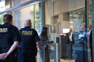 In this file photo, people enter the federal courthouse in downtown Portland on the first day of the trial of seven occupiers of the Malheur National Wildlife Refuge.