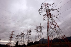 Power lines from Bonneville Dam head in all directions in North Bonneville, Wash.