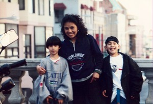 Diego Hernandez, right, with his mother, Clara Gaytan, and brother Fernando, 1996.