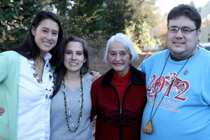 Mia Prickett, Erin Bernando, Marilyn Portwood, Eric Bernando (left to right) are among the 86 tribal members who have been disenrolled from the Confederated Tribes of Grand Ronde.