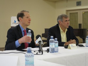 Democratic Senators Ron Wyden and Jeff Merkley visited Laurelhurst Village to talk to residents about proposed health care cuts.