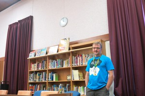 Teacher Mark Hardin loves his big spacious library at H.B. Lee Middle School - even with its large asbestos walls.
