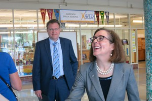 Gov. Kate Brown visits Madison High School in Northeast Portland, with Chief Innovation Officer Colt Gill.