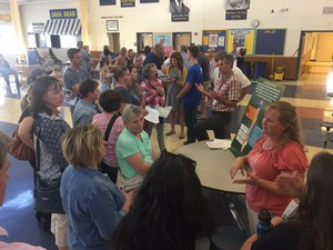 At the first of four community meetings, Bend residents look at three different options for new high schools in the Bend-La Pine School District
