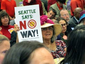 Hundreds of people attended the Seattle Port Commissioners' public meeting to voice their feelings about a controversial lease that would allow Shell Oil to keep its arctic drilling fleetat the Port of Seattle.