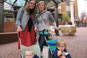 Courtney Hunter and Amanda Black out for a little early Christmas shopping at Portland's Pioneer Courthouse Square.