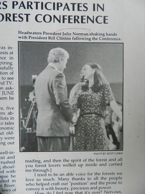 A clipping from a Headwaters newsletter after the Northwest Forest Summit.