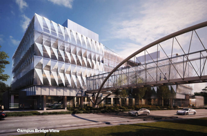 An artist's rendering of the University of Oregon's Knight science campus project.