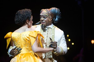 """Jennie Greenberry, Jordan Barbour in the Oregon Shakespeare Festival production of Disney's """"Beauty and the Beast."""""""