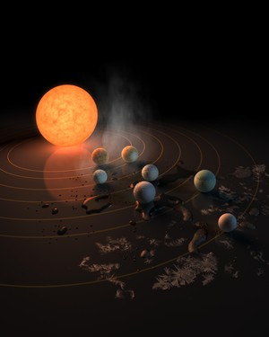 TRAPPIST-1 star, an ultra-cool dwarf, has seven Earth-size planets orbiting it.