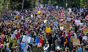 Thousands of people showed up for the Women's March on Southern Oregon in Ashland, Saturday, Jan. 21, 2017.