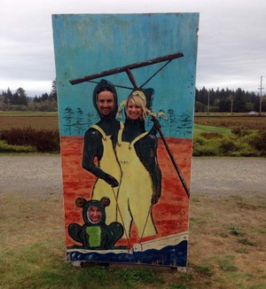 One of the roadside attractions that inspired the album cover. Hey Lover posing at a cranberry farm on Long Beach Peninsula in Washington.