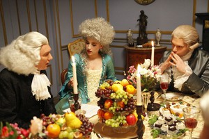 Patrick Page, Ava Deluca-Verley and Hugo Becker as Joseph Priestley, Marie Anne and Antoine Lavoisier