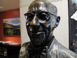 A bust of Fred Meyer at the offices of the Meyer Memorial Trust.