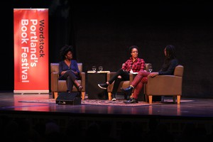Colson Whitehead and Yaa Gyasi chat with moderator Rukaiyah Adams at Wordstock 2016