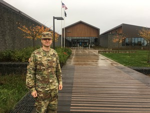 Colonel Christian Reese at the new Col. James Nesmith Readiness Center in Dallas, Oregon.