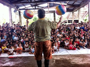 Clown Michael O'Neill in the Philippines.