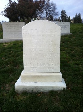 Carolyn B. Chamberlain's first name was misspelled in her obituary in 1936— an error repeated on her gravestone at the Arlington National Cemetery.