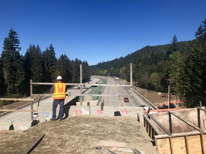 The Interstate-90 project also includes multiple wildlife undercrossings, seen from atop a wildlife bridge.