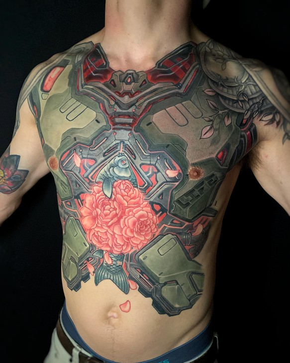 Tattoo artist, Bob Jones, creates large scale works that pull inspiration from Japanese pop culture like gundam and anime.