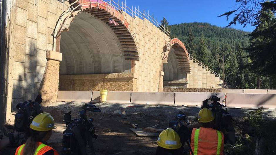 View from ground level of the new wildlife-only overcrossing on I-90 east of Snoqualmie Pass.