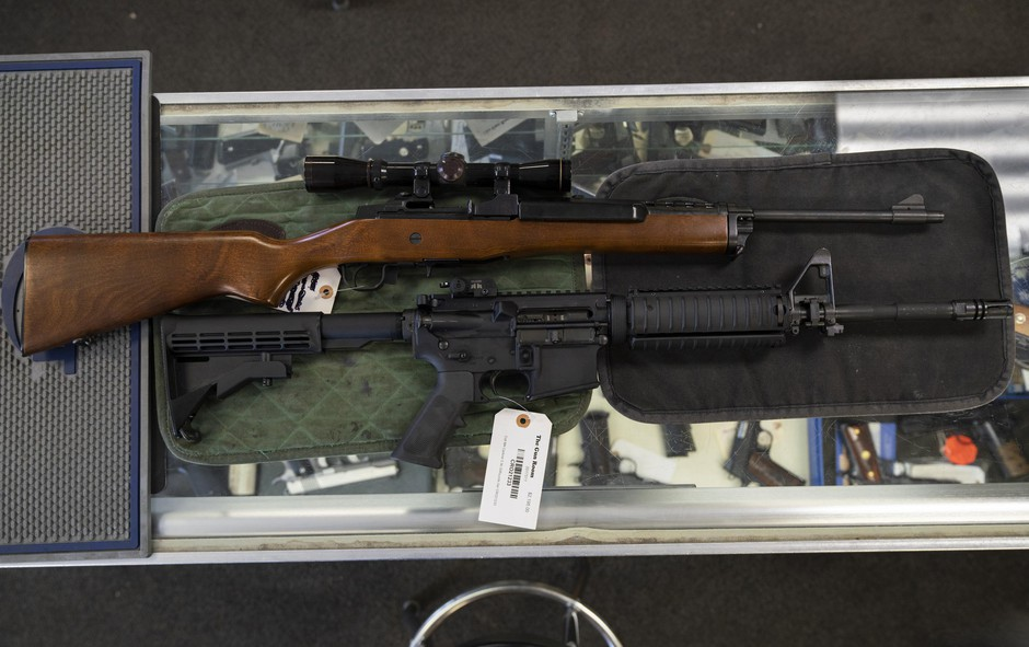 The Ruger Mini-14 (top) is identical in function to the AR-15 (bottom) but isn't as popular as the AR-15 and is largely ignored by gun control advocates and policymakers.