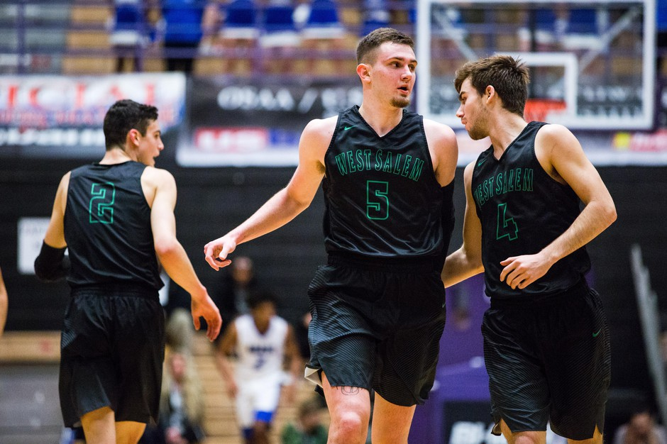 West Salem plays in the 2018 OSAA state basketball tournament. Winter sports like basketball and wrestling could be the true test of the new travel arrangement for Salem and Bend schools.